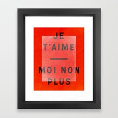Je t'aime...moi non plus Framed Art Print