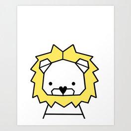 Lion, geometric lion, Animal, Minimal, kids, modern art,Trendy decor, Nursery, Interior, Wall art, Art Print