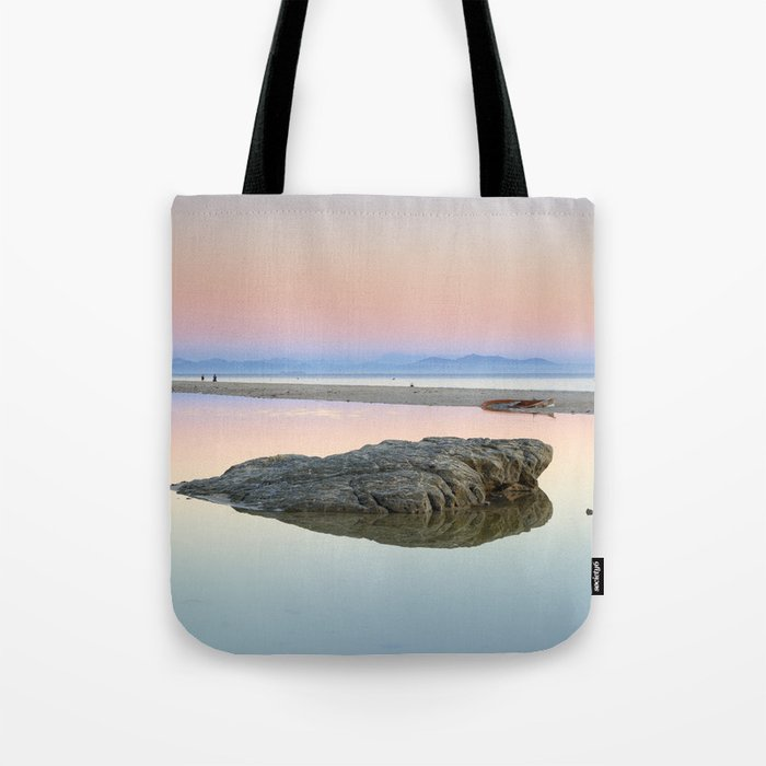 """Walking...."" Pink sunset at the beach. Tote Bag"