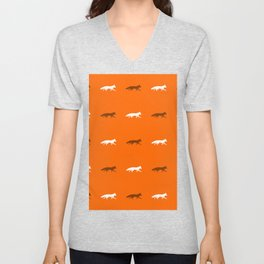 Orange Foxes! Unisex V-Neck