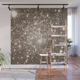 Taupe Sparkle Stars Wall Mural