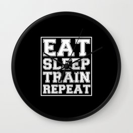 Eat Sleep Train Repeat Wall Clock
