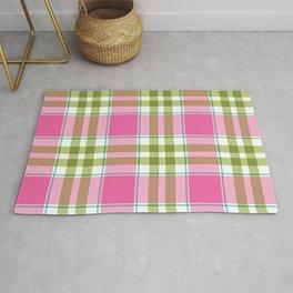 Pink Green Madras Plaid Rug
