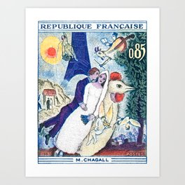1963 FRANCE The Bride and Groom At The Eiffel Tower Stamp Art Print