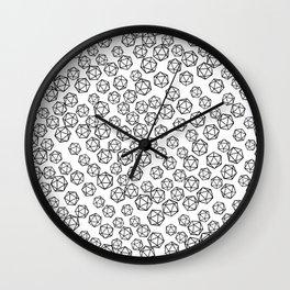D20 Pattern - B&W Wall Clock