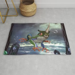 Awesome funny frogrhino Rug