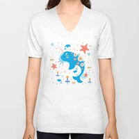 narwhal V-neck T-shirts featuring Narwhal & Babies  by Carly Watts