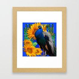 #2 BLUE PEACOCK &  SUNFLOWERS BLUE MODERN ART Framed Art Print