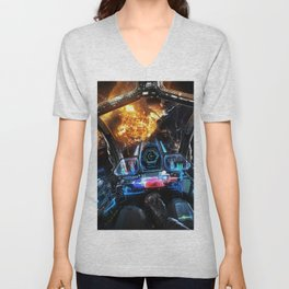 sci-fi spacecraft dashboard pilot outer space Unisex V-Neck
