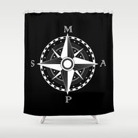 compass Shower Curtains featuring Compass by Addy Does