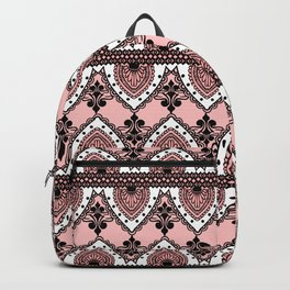Blush Pink Black and White Ornate Lace Pattern Backpack