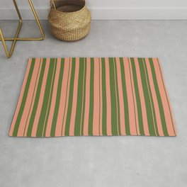 Dark Salmon and Dark Olive Green Colored Lined/Striped Pattern Rug