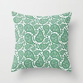 Paisley (Olive & White Pattern) Throw Pillow