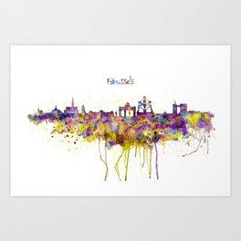 Brussels Skyline Silhouette Art Print
