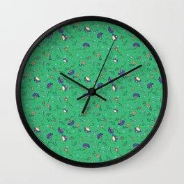 Mint cornflower pattern Wall Clock