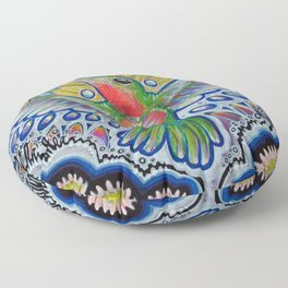 Hummingbird & Cactus - Beija Flor III Floor Pillow