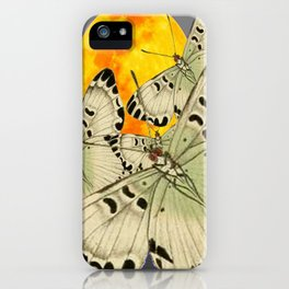 GOLDEN MOON MOTHS ON GREY iPhone Case