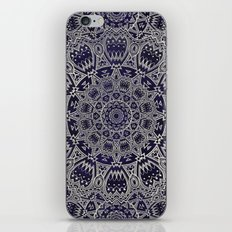 Cream Colored Mandala in Dark Blue Background iPhone Skin