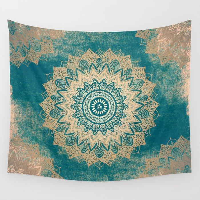 GOLD BOHOCHIC MANDALA IN GREENS Wall Tapestry