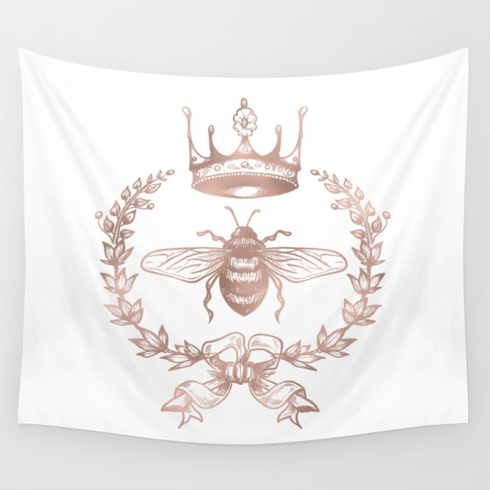 Queen Bee in Rose Gold Pink Wall Tapestry