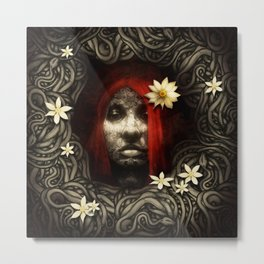 Red Hair with Flowers Metal Print