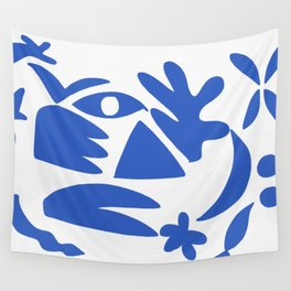 blue shapes on white background 2 Wall Tapestry