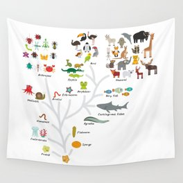 Evolution in biology, scheme evolution of animals on white. children's education back to scool Wall Tapestry