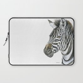 Zebra Watercolor Painting - African Animal Painting Wildlife Head Bust Laptop Sleeve