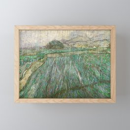 Vincent Van Gogh Wheat Field In Rain Framed Mini Art Print