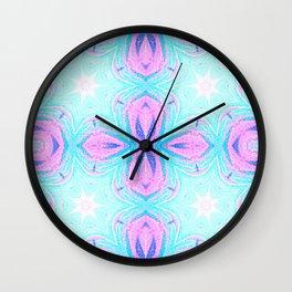 Pink & Blue Star Explosion Pastel Pattern Wall Clock
