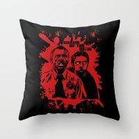 shaun of the dead Throw Pillows featuring Shaun of the dead blood splatt  by Buby87