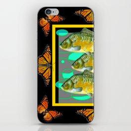 MODERN  MONARCH BUTTERFLIES FISH BLACK  AQUATIC  COLLAGE iPhone Skin