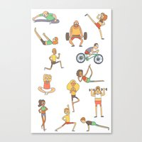 gym Canvas Prints featuring Gym Buddies by Sid's Shop