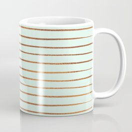 Mint & Rose Gold Striped Pattern Coffee Mug