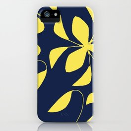 Leafy Vines Yellow and Navy Blue iPhone Case