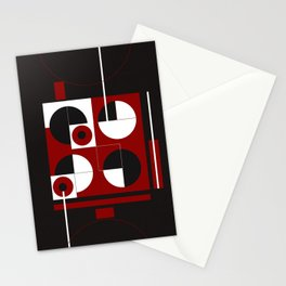 Geometric/Red-White-Black  1 Stationery Cards