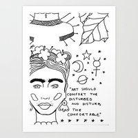 cactei Art Prints featuring Kahlo x Banksy by ☿ cactei ☿