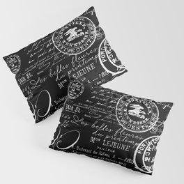 White Vintage Handwriting on Black Pillow Sham