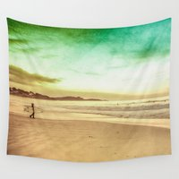 surfing Wall Tapestries featuring Surfing by Arlene Carley
