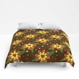 Flowers versus Hearts Comforters