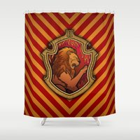 gryffindor Shower Curtains featuring Hogwarts House Crest - Gryffindor by Teo Hoble