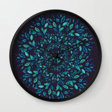 Blue Leaves Mandala Wall Clock