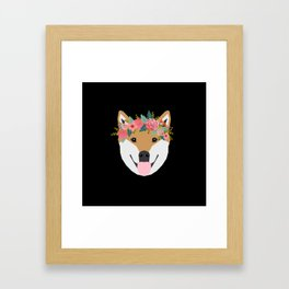Shiba Inu floral crown dog with flowers pet art pure breed shiba inus Framed Art Print