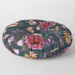 Autumn dark roses and florals Floor Pillow