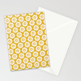 Canary Yellow Retro Floral Stationery Cards