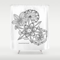 vermont Shower Curtains featuring Vermont Zentangle Snow Flakes Illustration by Vermont Greetings