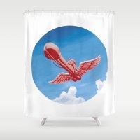 voyage Shower Curtains featuring voyage by Shneyka