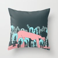 forrest Throw Pillows featuring forrest by Regina Rivas Bigordá