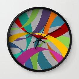 Rainbow Ribbons on Grey Wall Clock