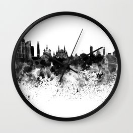 Moscow skyline in black watercolor Wall Clock